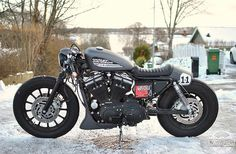 "bikebound: ""Federico Grey,"" an 883 Sportster #caferacer by @federicomotors of Switzerland. 883 Sportster"