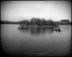 A lazy afternoon of boating at Denver's City Park in 1908.  The Denver Museum of Natural History can be seenn in the background.