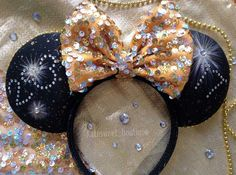"""New Years Eve"" Minnie Mouse Disney Ears - Disney Ideen Disney Diy, Disney Bows, Disney Crafts, Disney Ears Headband, Disney Headbands, Disney Mickey Ears, Mickey Mouse, Disney Christmas, Disney Inspired"