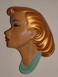 50s Wall Plaque wall mask gold hair