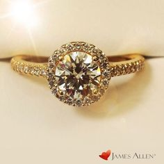yellow gold diamond halo engagement ring from james allen