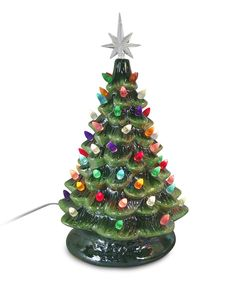 Lighted Tabletop Ceramic Christmas Tree Multi Color Lights Home Decoration Gift #TabletopChristmasTree