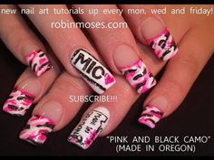 NEON PINK AND BLACK BARBIE CAMO NAILS: robin moses DIVA SWAG nail art design tutorial 453