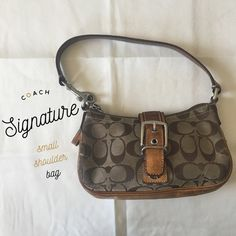 Sale! Coach Small Signature Shoulder Bag Preloved, coach handbag in good condition. Signs of wear. Coach Bags Mini Bags