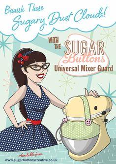 Sugar Buttons Universal Mixer Guard. Banish those sugary dust clouds when using a stand mixer. Fits Kitchenaid, KMix, SMEG, Sage by Heston Blumenthal