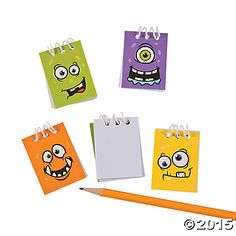 Monster Face Mini Spiral Notepads $5