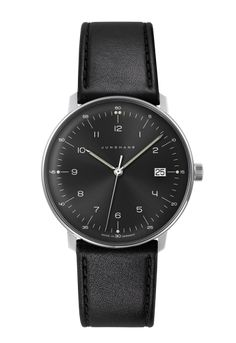 One of Junghans's ever popular watches, the Max Bill Watch is another great example of a watches. Your Max Bill Watch will come boxed in the original Junghans packaging with full instructions. Max Bill, Omega, Junghans, Luxury Watches, Watches For Men, Men's Watches, Black Watches, Fashion Watches, Leather Watches