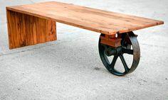 Wheeled Waterfall Coffee Table Custom by brandMOJOinteriors, $950.00