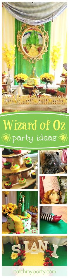 Take a trip to Oz with this pretty Wizard of Oz Welcome Home Party! The dessert table is amazing!! See more party ideas and share yours at CatchMyParty.com