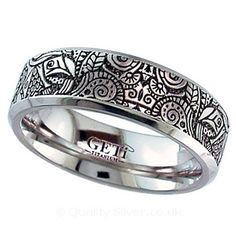 Geti Flat Titanium Zentangle Ring