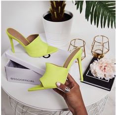 5c66bb26f509 Cece Pointed Peep Toe Mule In Neon Yellow Faux Suede.