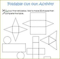 three dimensional shape cut outs 3d Shapes Worksheets, Shapes Worksheet Kindergarten, Math Worksheets, Kindergarten Math, Math Resources, Teaching Math, Fun Math, Maths, Sorting Activities