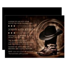 Country Western Wild West 50th Birthday Party Card