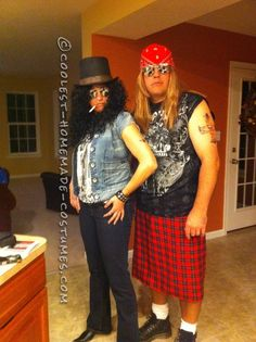 Rock Star Legends for One Night: Axl and Slash Couple Halloween Costume… Enter the Coolest Halloween Costume Contest at http://ideas.coolest-homemade-costumes.com/submit/