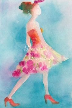 Watercolor #Fashion #Illustration of a Woman in a Pink Flowered Skirt by Beverly Brown