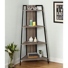 Corner Shelf Ladder Rustic Wood Metal Bookshelf Accent Storage Stand Office Unit