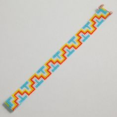 Your place to buy and sell all things handmade Aztec ZigZag Bead Loom Bracelet Artisanal Jewelry by PuebloAndCo Loom Bracelet Patterns, Seed Bead Patterns, Bead Loom Bracelets, Beaded Jewelry Patterns, Beading Patterns, Stitch Patterns, Loom Bands, Native American Beading, Tear