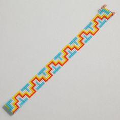 Aztec ZigZag Bead Loom Bracelet Artisanal Jewelry by PuebloAndCo