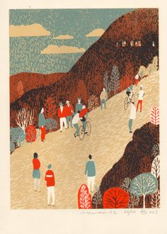 Mountain by Eliza Southwood (Limited Edition Print, V&A Shop) Bike Poster, Bike Art, Victoria And Albert Museum, Limited Edition Prints, Art Museum, Printmaking, Screen Printing, Collage, Illustration