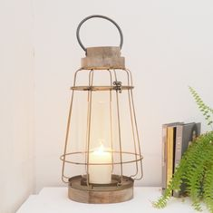 Industrial wired dock lanterns are a must have! Wood candle lantern, excellent for Christmas. Wooden Lanterns, Candle Lanterns, Candels, Great Christmas Gifts, Oil Lamps, Wood And Metal, Candlesticks, Natural Wood, Industrial