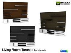 Large living room furniture, to put the TV, with shelves for books and drawers and doors to order, in three different color options Found in TSR Category 'Sims 4 Coffee Tables'