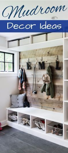 DIY Mudroom Decorating and Design ideas - great ideas for mud rooms and foyer entryway too