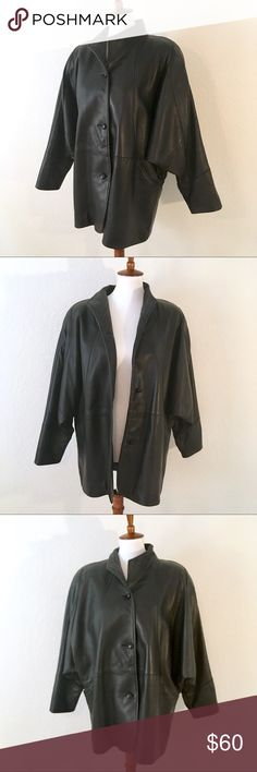 """Reed quality leather jacket w/ wide loose sleeves Reed Sportswear Manufacturing Co. Very soft and high quality leather jacket. Padded shoulders. Small barely noticeable blemishes on the leather around the shoulders as pictured.  Measurements: Shoulders: 18"""" Chest: 46"""" Waist: 46"""" sleeve length (shoulder to cuff hem): 23.5"""" coat length (top to bottom): 31"""" Reed Jackets & Coats"""