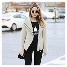 Women's Solid White / Gray Cardigan, love the simple street style.