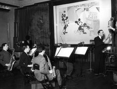 A group of musicians record the soundtrack for a Mickey Mouse cartoon in July, 1932. 23 Magical Pictures From The Golden Years Of Disney