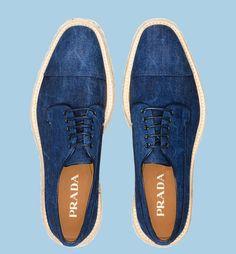 PRADA Denim Lace-Up Shoes #men #footwear