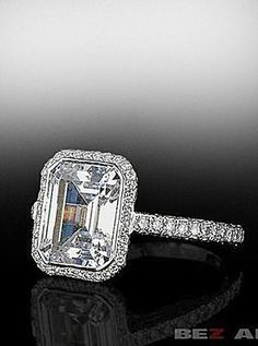 In this particular picture, the knife edge frame holds a 3.00 carat Emerald cut diamond.