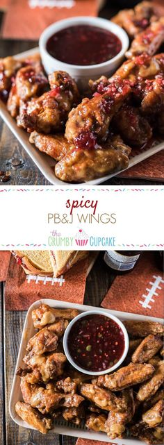 Calling all football fans - Spicy PB&J Wings are here turn a famed childhood sandwich into your new favorite tailgating snack! Dip these peanut butter glazed chicken wings into the strawberry jalapeno glaze and cheer louder than ever before! #SundaySupper