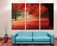 "3 Panel Split - Red Autumn in the park Canvas Print, Triptych Stretched on 1.5"" deep frames - for home/office wall decor & interior design. by CanvasQuest on Etsy https://www.etsy.com/listing/207028947/3-panel-split-red-autumn-in-the-park"