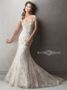 Tip of the Shoulder Mermaid Wedding Dress  with No Waist/Princess Seams in Beaded Lace. Bridal Gown Style Number:33019944