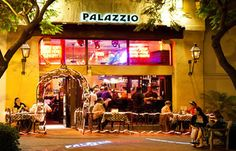 "Palazzio-  This is our #1favorite restaurant in Santa Barbara. Huge portions, amazing garlic rolls. Favorite dish is the Papa Rubys. Saturday nights  they dim the lights, pass out lyrics to all customers and sing ""That's Amore"" together."