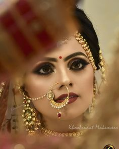 Glitter on your D-Day by awesome bridal makeover! Bridal Makeover, Makeup Makeover, Indian Bridal Makeup, Makeup Yourself, Septum Ring, Wedding Photography, Glitter, Bride, Awesome