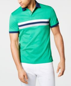 Calvin Klein Men's Liquid Touch Regular-fit Colorblocked Stripe Polo Shirt In Jelly Bean Striped Polo Shirt, Contrast Collar, Calvin Klein Men, Plus Size Activewear, Dresses With Leggings, Baby Clothes Shops, Trendy Plus Size, Casual Looks, Jelly
