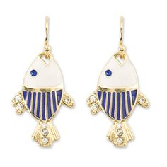 c2e9212c7 PERIWINKLE by BARLOW Gold Navy Blue FISH Crystal Tropical Coastal Earrings  NWT