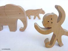 Animals - 3D Forms - Jungle animals - Elephant, tiger, monkey - Wooden animals -