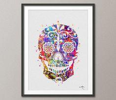 Sugar Skull Day of the Dead Watercolor illustrations door CocoMilla