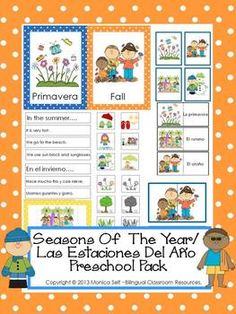 Seasons Of The Year/ Las Estaciones Del Ao unit is in both English and Spanish.The 75-page download is full of learning!The following is what is included by page number.5-6: Seasons Of The Year Graphing- The children will spin the wheel (included) and record the results on the graph.