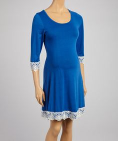 Another great find on #zulily! Blue & White Lace-Trim Maternity Shift Dress #zulilyfinds