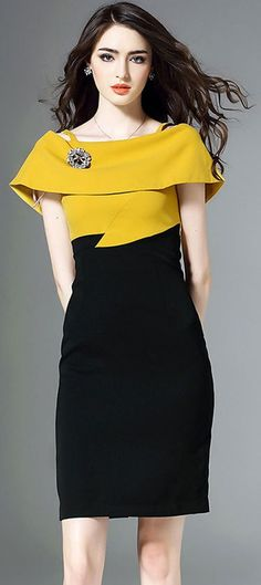 Elegant Color-blocked Slash Neck Bodycon Dress