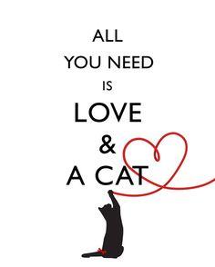 Metro arte Todo usted necesita es amor y un CAT por WordsWorkPrints