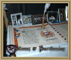 medieval wedding decorations, reception hall, signature parchment