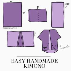 """Besides the fact that this """"kimono"""" and real japanese kimono both are made out of rectangle fabric, the """"kimono"""" shown here actually has nothing to do with a real kimono. So, why call it a kimono? Diy Clothing, Sewing Clothes, Clothing Patterns, Sewing Patterns, Kimono Diy, Kimono Tutorial, Diy Clothes Kimono, Diy Tutorial, Sewing Hacks"""