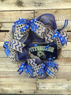 Wreaths, Door Wreaths, University of Pittsburgh, Pitt Football Door Wreath, College Football Wreath, Pittsburgh, Pitt Football,…
