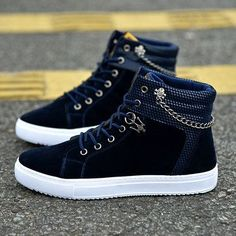 Fashionable Lace Up High-Top Canvas Casual Shoes Brand: No Shoe Type: Casual Shoes Toe Type:Round Toe Closure Type: Lace Up Gender: Male Occasion: CasualSeason: Spring [. Sneakers Mode, Sneakers Fashion, Shoes Sneakers, Women's Shoes, Hightop Shoes, Canvas Sneakers, Polo Shoes, Mens Canvas Shoes, Dance Shoes