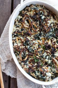 Gruyère, mushrooms, and caramelized onions add umami oomph to a kale and wild rice casserole. Reheat a left… Gruyère, mushrooms, and caramelized onions add umami oomph to a kale and wild rice casserole. Reheat a left… Healthy Casserole Recipes, Kale Recipes, Vegetarian Recipes, Cooking Recipes, Healthy Recipes, Eat Healthy, Wild Rice Recipes, Lunch Recipes, Dinner Recipes