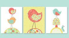 Aqua and Coral Nursery, Colors match Land of Nod Floral Gem and N. Selby Designs Gypsy Bedding, Bird Nursery, 8 x 10, Cute Bird Nursery Art
